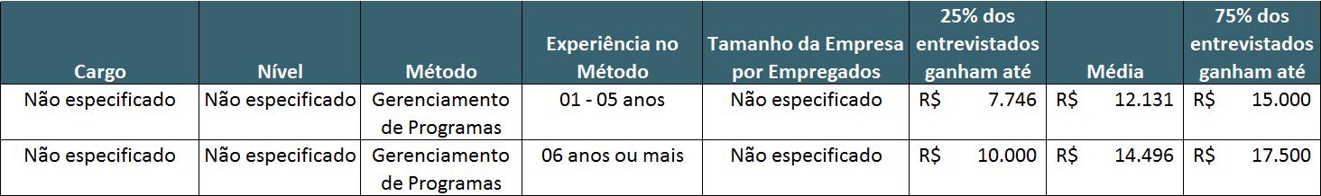 Profissional de Gerenciamento de Programas - Guia Salarial - PMI - Program Manager - Remuneração por Anos de Experiência
