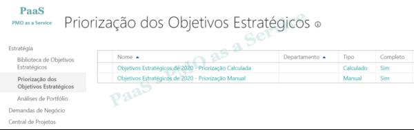 PWA Enterprise - Portfolio - Priorizacao dos Objetivos Estrategicos